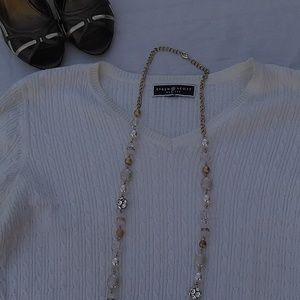 Karen Scott Cream Ivory Cable Knit Pullover SZ SP